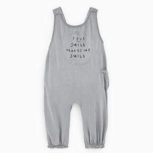 Zara baby grey text print muslin jumpsuit